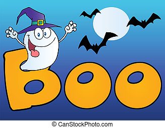 Scary Ghost Coming out Of Boo Text - Ghost Wearing A Witch...