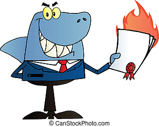 Shark Businessman Showing Contract