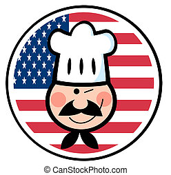 Chef Face Over An American Flag - Winked Chef Man Face...