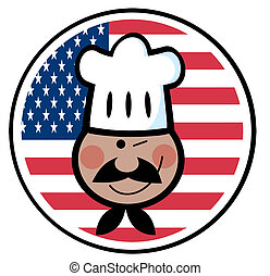 African American Winked Chef Man - Winking Black Chef Face...
