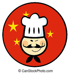 Asian Chef Face Over A China Flag Circle