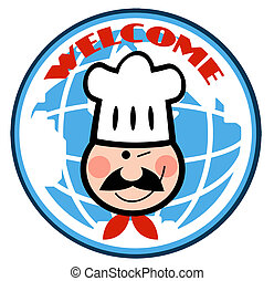 Winking Chef Face Over A Globe - Winked Chef Man Face...