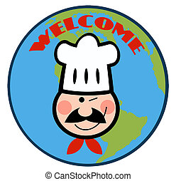 Winking Chef Face Over Earth - Winked Chef Man Face Cartoon...