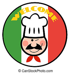 Chef Face Over Italian Flag - Winking Chef Face Over A...