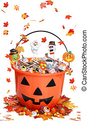 halloween pumpkin bucket with candy - isolated halloween...
