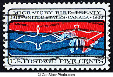 UNITED STATES OF AMERICA - CIRCA 1966: a stamp printed in...