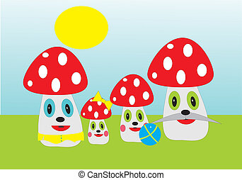 Fly agaric. A family of fly agarics