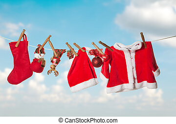 Clothes line for christmas - Baby christmas or santa clothes...