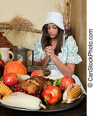 Thanksgiving prayer - Reenactment scene of the first...