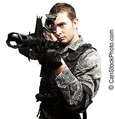 young soldier aiming