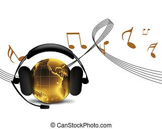 world hit - golden world listens to music on headphones -...
