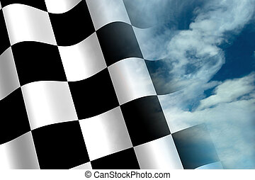 Chequered Flag - A Colourful Chequered Flag and Sky Concept...