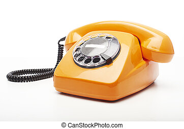 vintage telephone - vintage orange telephone isolated over...