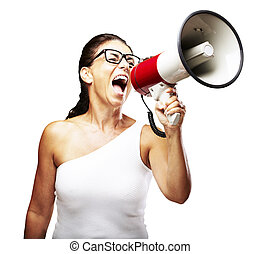 woman shouting using megaphone - portrait of middle aged...