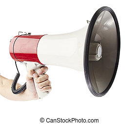 man holding megaphone against a white background