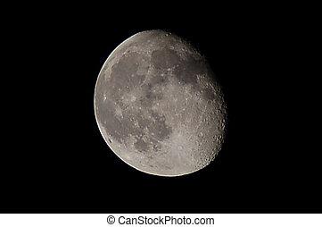 Half moon -  Half moon at night, moon