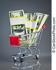 shopping cart and money on a grey background