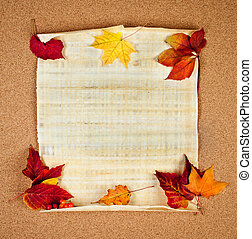 autumn note - Old paper with autumn leaves, autumn note