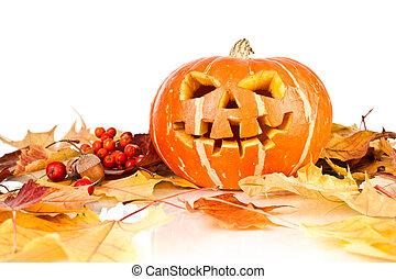 halloween, old jack-o-lantern on white - Scary old...