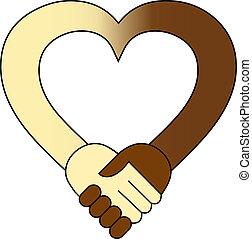 Coração, mão, abanar