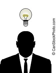 buisness idea - Illustration of a man with a light bulb...