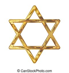 Golden star of David isolated on white