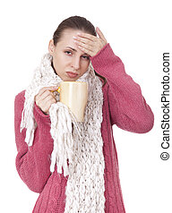 Sick woman with cup in winter sweater and scarf - Sick woman...