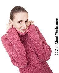 Beautiful young woman in winter sweater - Beautiful young...