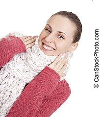 Beautiful woman in winter sweater and scarf - Beautiful...