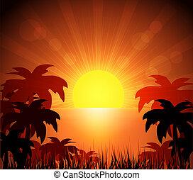 Island and sunrise - Island an sunrise, bright colors