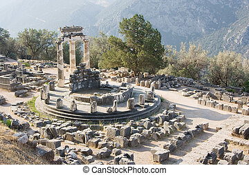 delphi oracle Greece - view of the mount parnassus and the...