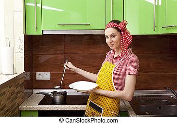 bonito, Feliz, mulher, cozinha, Interior, Cozinhar