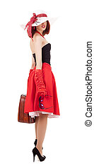 Fashion girl in retro style with suitcase