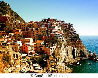 Manarola, Cinque Terre, Italy - Manarola, one of the Cinque...