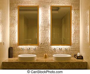 interior, diseño, cuarto de baño