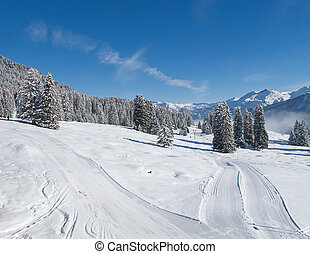 Skiing slope - Slope on the skiing resort Braunwald....