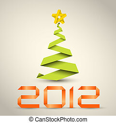 Simple vector christmas tree made from green paper stripe