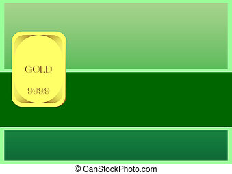 Gold ingot. - Gold ingot on a green background. In the...
