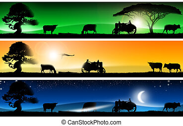 Three fantastic countryside landsca - Three banners of...