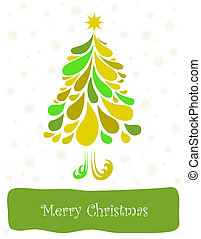 Abstract green christmas tree Vector card - Abstract green...