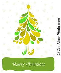 Abstract green christmas tree. Vector card - Abstract green...