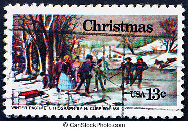 UNITED STATES OF AMERICA - CIRCA 1976: a stamp printed in the United States of America shows painting Winter Pastime, by Nathaniel Currier, circa 1976
