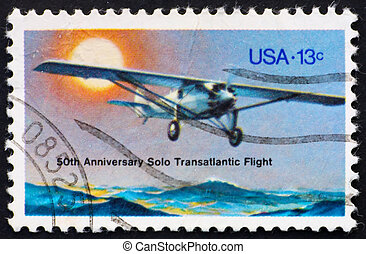Postage stamp USA 1977 Spirit of St Louis - UNITED STATES OF...