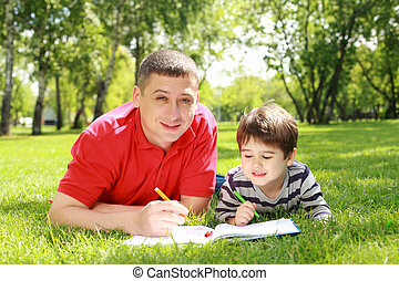Father with his son in the park