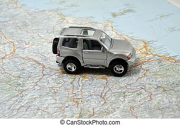 concept small grey jeep car on italy map