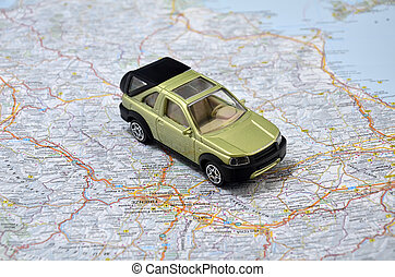 concept small green pickup toy car on italy map