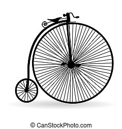 Ancient bicycle - Silhouette of an ancient bicycle on a...