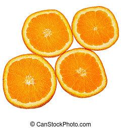に薄く切る, 上に, 隔離された, 背景, オレンジ, 白