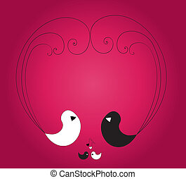 Four birds forming heart on the vio - Two big white and...