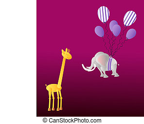 Giraffe and elephant with balloons - Yellow giraffe and big...